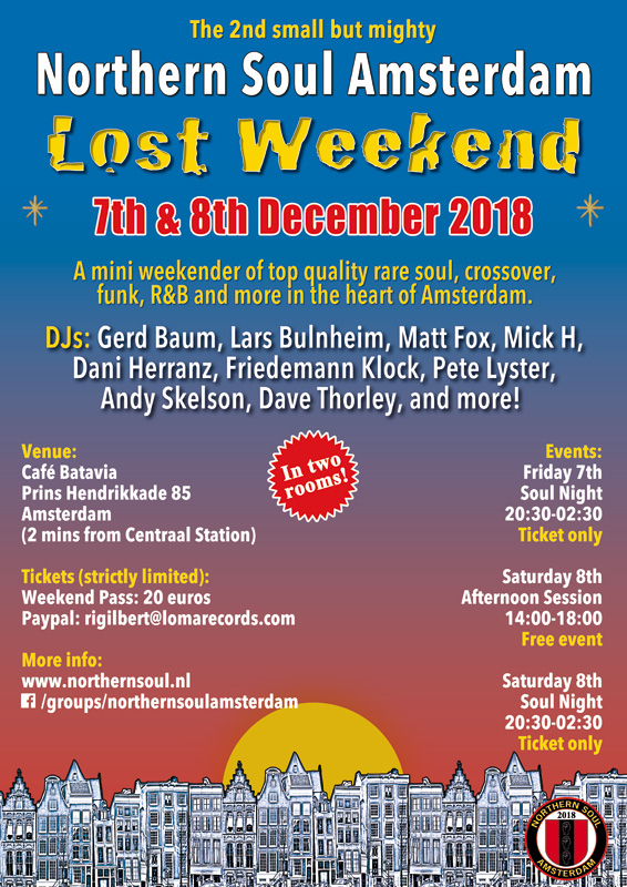Northern Soul Amsterdam mini rare soul weekender 7th-8th December 2018